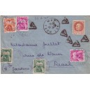 PETAIN - TIMBRE INADMIS - LETTRE DE MAZAMET TARN TAXEE A 1F63 - RARE.