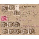MARNE - PORT A BINSON - RECOMMANDEE PROVISOIRE - ENVELOPPE PTT - TAXEE A 2F25 AVEC 12 TIMBRES - LE 9-4-1953.