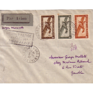 COCHINCHINE - CHAUDOC - COURRIER RAPIDE EMERAUDE SAIGON-PARIS - LE 3-1-1934.